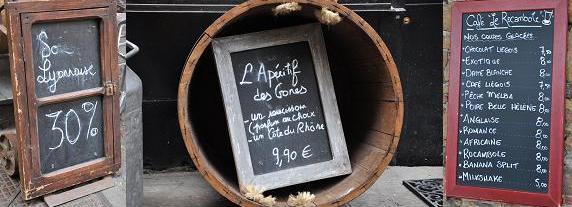 everywhere you look in france, there are chalkboards